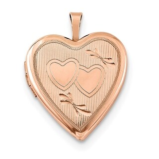 "Curata 925 Sterling Rose Gold-Plated Double Heart Oval Locket Pendant Necklace (2 pictures) (26mm)(16"" chain)"