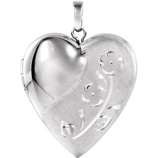 """Curata 925 Sterling Silver Medium Etched Heart Locket Pendant Necklace (2 pictures) (18mm)(16"""" chain)"""