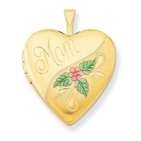 "Curata 14/20 Gold-filled Enamel Mom Heart Locket (2 pictures) (20mm)(18"" chain)"