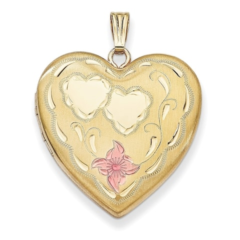 "Curata 14/20 Gold-filled Pink Enamel Heart Locket (2 pictures) (23mm)(16"" chain)"