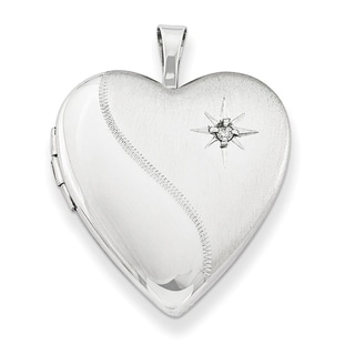Curata 925 Sterling Silver Rhodium Plated Star Diamond Accent Heart Locket Pendant Necklace 2 Pictures 20mm 18 Chain