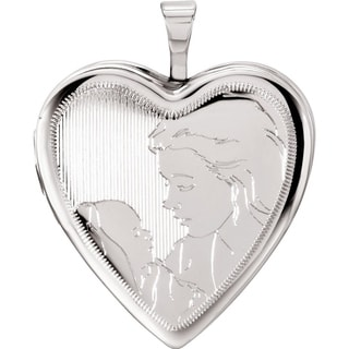 "Curata 925 Sterling Silver Medium Etched Mom and Baby Heart Locket Pendant Necklace (2 pictures) (20mm)(16"" chain)"