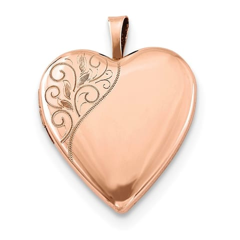 """Curata 925 Sterling Silver Rose Gold-Plated Swirl Flowers Heart Locket Pendant Necklace (2 pictures) (20mm)(16"""" chain)"""