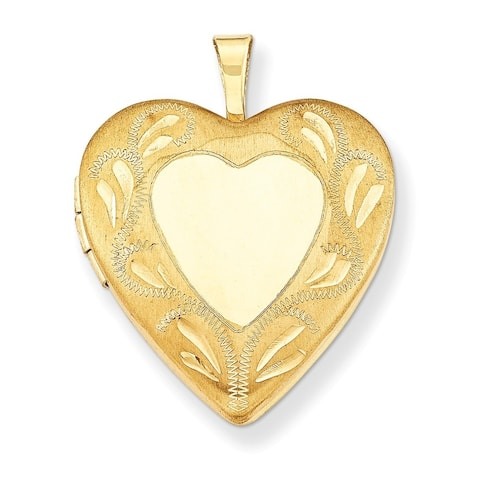 "Curata 14/20 Gold-filled Satin Diamond-cut Heart Locket (2 pictures) (19mm)(16"" chain)"