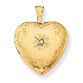 Curata 14 20 Gold Filled Flower Diamond Accent Heart Locket 2 Pictures 15mm 16 Chain