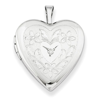 Curata 925 Sterling Silver Rhodium Plated Floral Diamond Accent Locket Pendant Necklace 2 Pictures 20mm 18 Chain