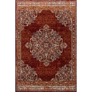 "Wallington Collection - Burgundy Traditional Area Rug - 7' 4"" X 10' 6"""