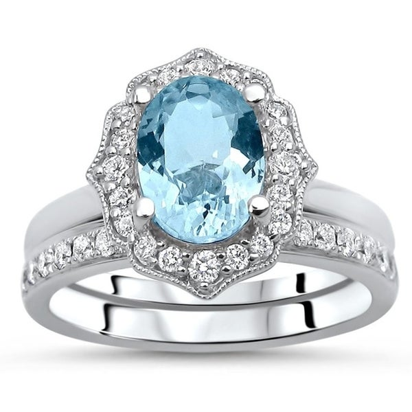 Shop 14k White Gold Oval Aquamarine 9X7mm 1/2ct Diamond