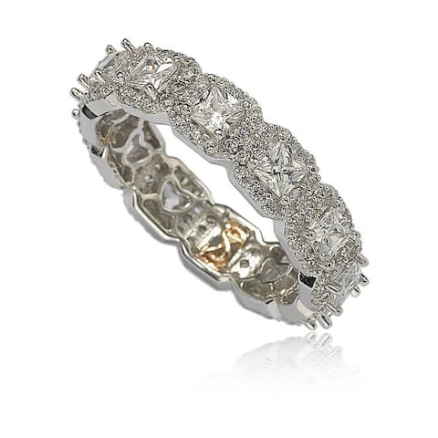 Suzy L. Sterling Silver Cubic Zirconia White Princess Cut Eternity Band