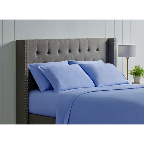 Christopher Knight 400 ct Cotton Duvet Cover Set Cal-King-Steel Blue
