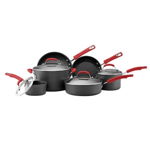 Rachael Ray Hard-Anodized Nonstick 10-Piece Cookware Set, Gray