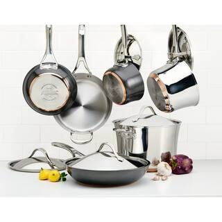 Anolon Nouvelle Copper 11-Piece Mixed Cookware Set, Silver and Black