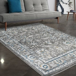 """Allstar Rugs Grey and Ivory Persian Hand Carved Rectangular Area Rug with Turquoise Design - 7' 5"""" x 9' 8"""""""