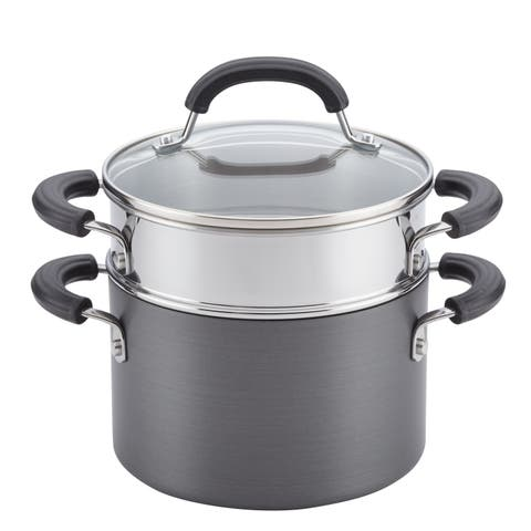 Circulon Hard-Anodized Nonstick 3-Quart Covered Saucepot with Insert