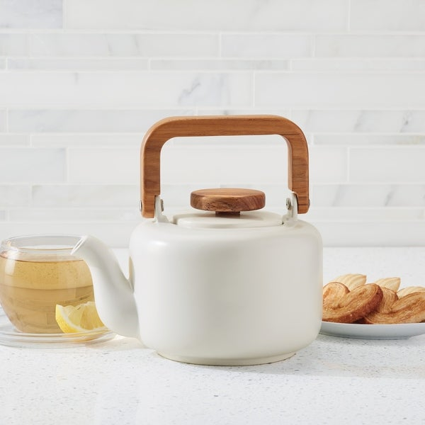 BonJour Ceramic Coffee and Tea 8-Cup Ceramic Teapot, Matte White