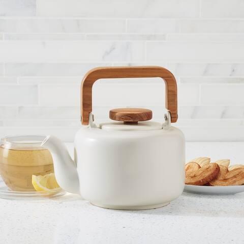 BonJour Ceramic Coffee and Tea 8-Cup Ceramic Teapot, Matte White