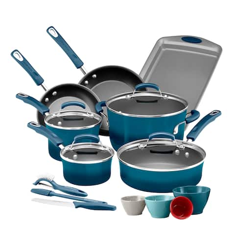 Rachael Ray Classic Brights 14-Piece plus GWP Nonstick Cookware Set