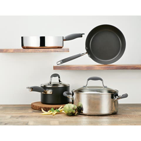 Anolon Advanced 6-Piece Mixed Metals Cookware Set, Silver and Black