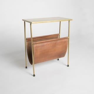 "Aurora Home Orissa Brass Finish Side Table & Leather Magazine Holder - 18""W x 10""D x 22""H"