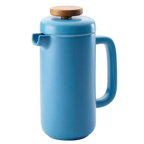 BonJour Ceramic Coffee and Tea 8-Cup Ceramic French Press, Aqua