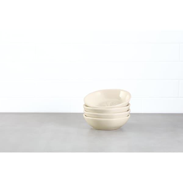 Ayesha Collection Ceramic Dipping Bowl Set, French Vanilla