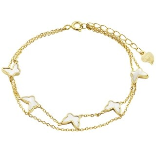 "Luxiro Sterling Silver Gold Finish Mother of Pearl Butterfly Bracelet, 6'' + 1"" Extender"