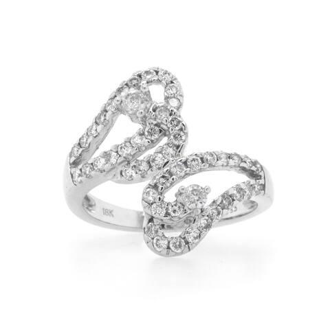 18k White Gold Diamond Crossover Estate Ring (I-J, SI1-SI2)