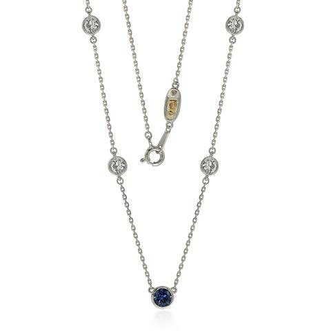 Suzy Levian Sapphire & Diamond Accent (1.50cttw) Sterling Silver 5 Stone Station Necklace