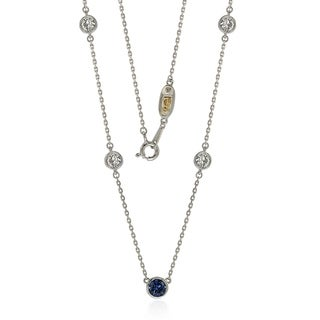 Suzy L. Sapphire & Diamond Accent (1.50cttw) Sterling Silver 5 Stone Station Necklace