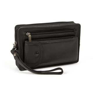 Black Cashmere Napa Leather Travel Toiletry Bag with Wrist Strap