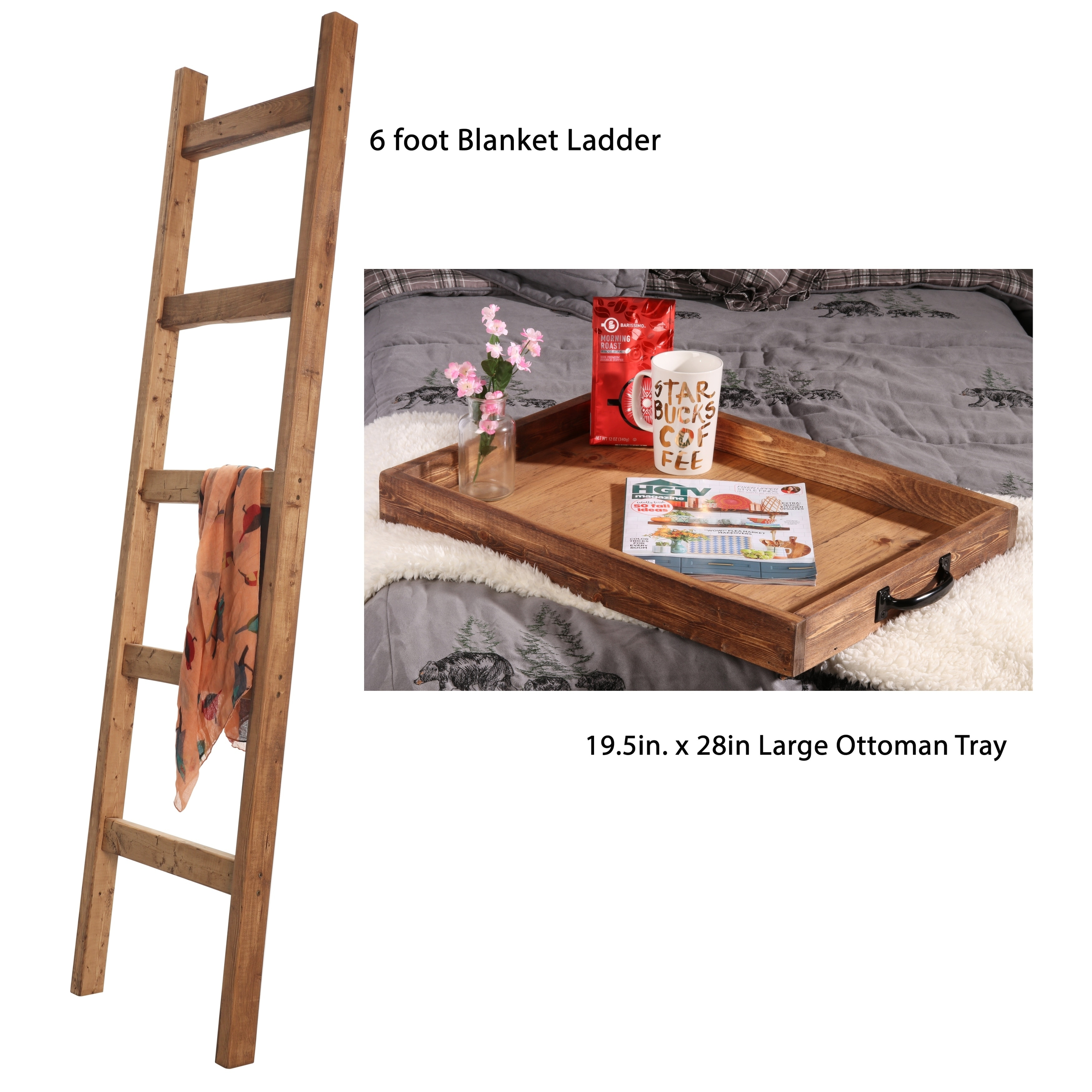 Early American Farmhouse Set - 6ft Blanket Ladder Serving Tray on farmhouse interior design, farmhouse exterior design, farm style kitchen design,