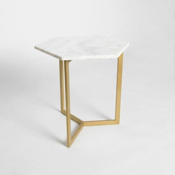 """Aurora Home Piers Hexagon Marble Table - 18""""W x 18""""D x 18""""H"""