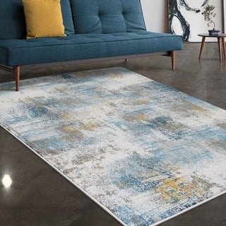 """Allstar Rugs Ivory and Blue Abstract Grunge Rectangular Area Rug with Grey Design - 7' 5"""" x 9' 8"""""""