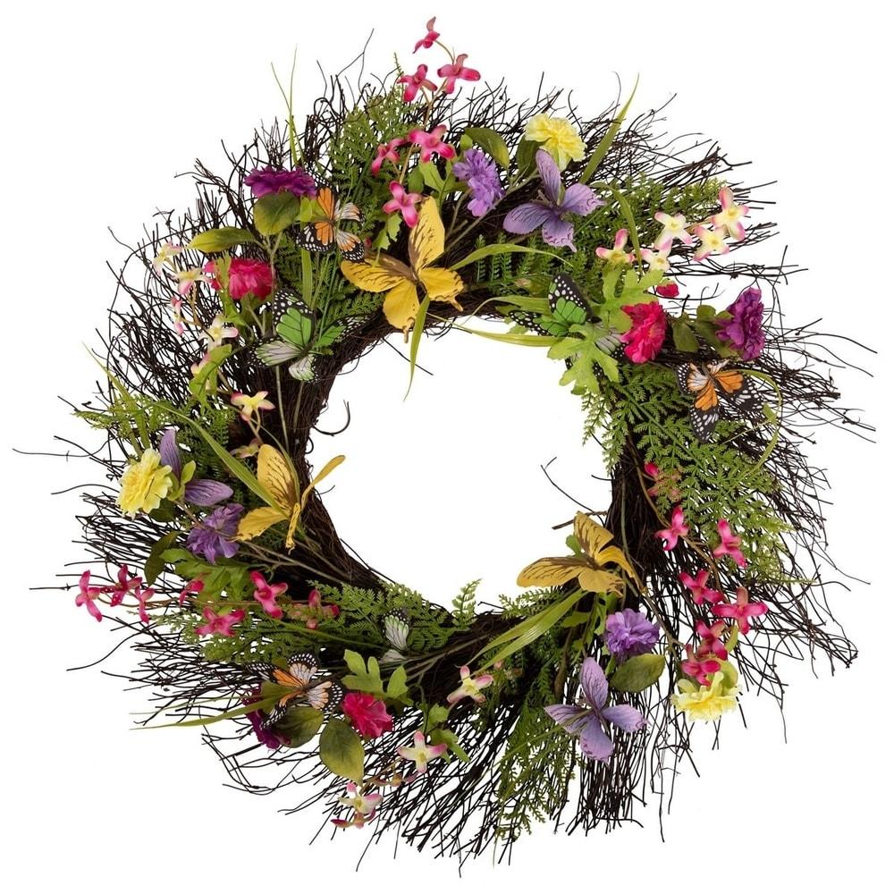 "Yellow Flower 20/"" Handmade Forsythia Twig Indoor Wreath Spring Summer Decor"