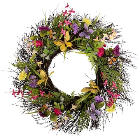 "Arty 24"" Butterfly Flower Wreath on Natural Twig Base"