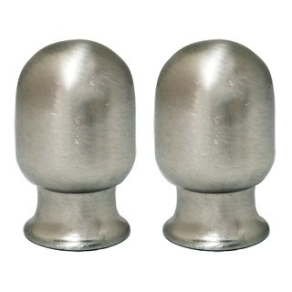 Royal Designs Top Rounded Cylindar Brushed Nickel Lamp Finial, Set of 2