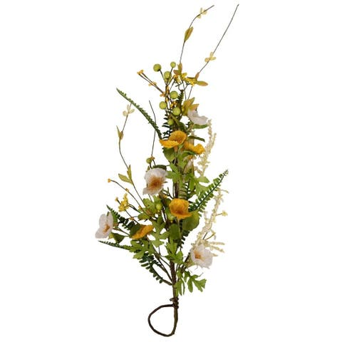 "Arty 26"" White and Yellow Poppy Door Hanger"