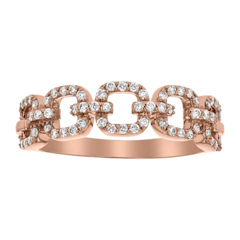 14K Rose Gold 1/3ct. Diamonds Women's Wedding Link Ring by Beverly Hills Charm
