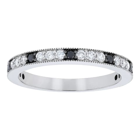 14K White Gold 1/2ct. Black and White Diamonds Vintage Wedding Ring by Beverly Hills Charm