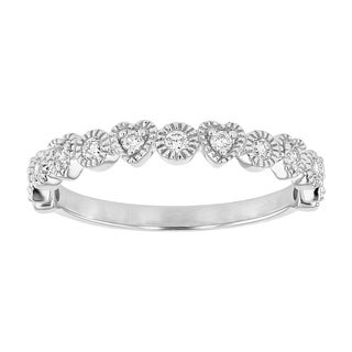 14K White Gold 1 4ct Diamonds Hearts And Circles Band Ring