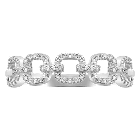 14K White Gold 1/3ct. Diamonds Women's Wedding Link Ring by Beverly Hills Charm