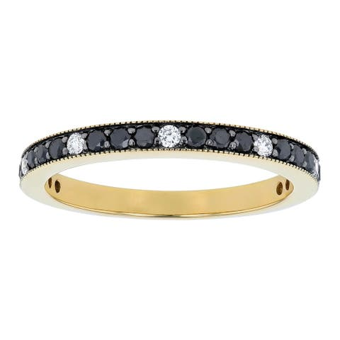 14K Yellow Gold 1/2ct. Black and White Diamonds Vintage Wedding Ring by Beverly Hills Charm