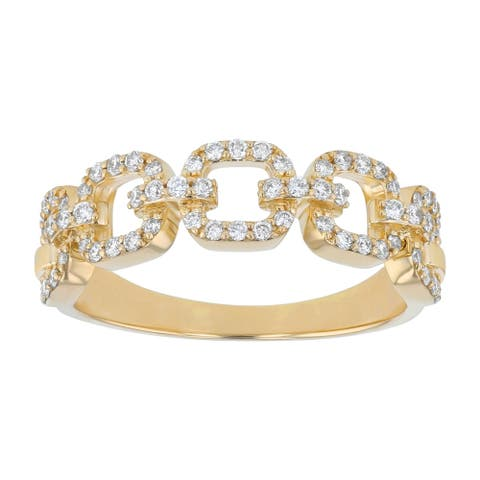 14K Yellow Gold 1/3ct. Diamonds Women's Wedding Link Ring by Beverly Hills Charm