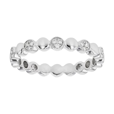 14K White Gold 1/7ct Diamonds Pave Alternating Circles Eternity Band by Beverly Hills Charm