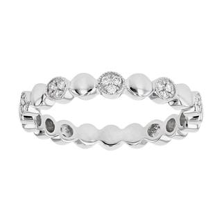 14K White Gold 1 7ct Diamonds Pave Alternating Circles Eternity Band