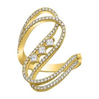 14K Yellow Gold 4 5ct Diamonds Wave Ring