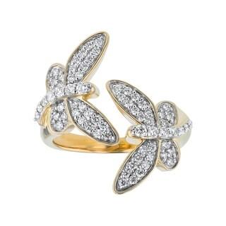 14K Yellow Gold 1 2ct Diamonds Butterflies Bypass Ring