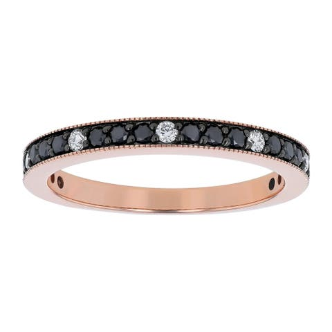 14K Rose Gold 1/2ct. Black and White Diamonds Vintage Wedding Ring by Beverly Hills Charm