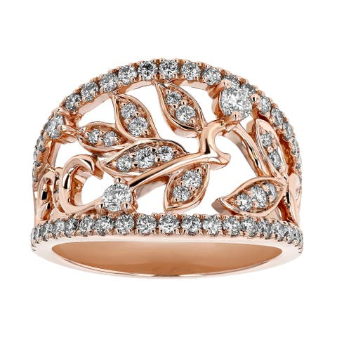 14K Rose Gold 1ct Diamonds Leaf Ring by Beverly Hills Charm