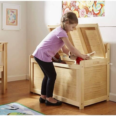 "Wooden Toy Chest, Honey - 24"" x 19"" x 33"""